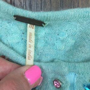 Free People Sweaters - Free People green jewel embellished cardigan